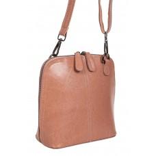 На фото 1 - Каркасная сумка кросс-боди из натуральной кожи, цвет пыльная роза