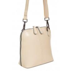 На фото 1 - Каркасная сумка кросс-боди из натуральной кожи, цвет молочный