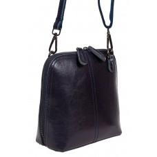 На фото 1 - Каркасная сумка кросс-боди из натуральной кожи, цвет тёмно-синий