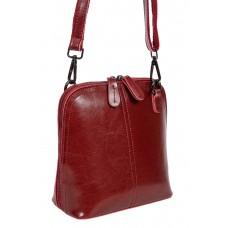 На фото 1 - Каркасная сумка кросс-боди из натуральной кожи, цвет бордо