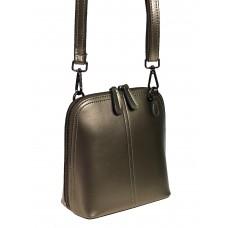 На фото 1 - Женский кожаный клатч, цвет бронзовый