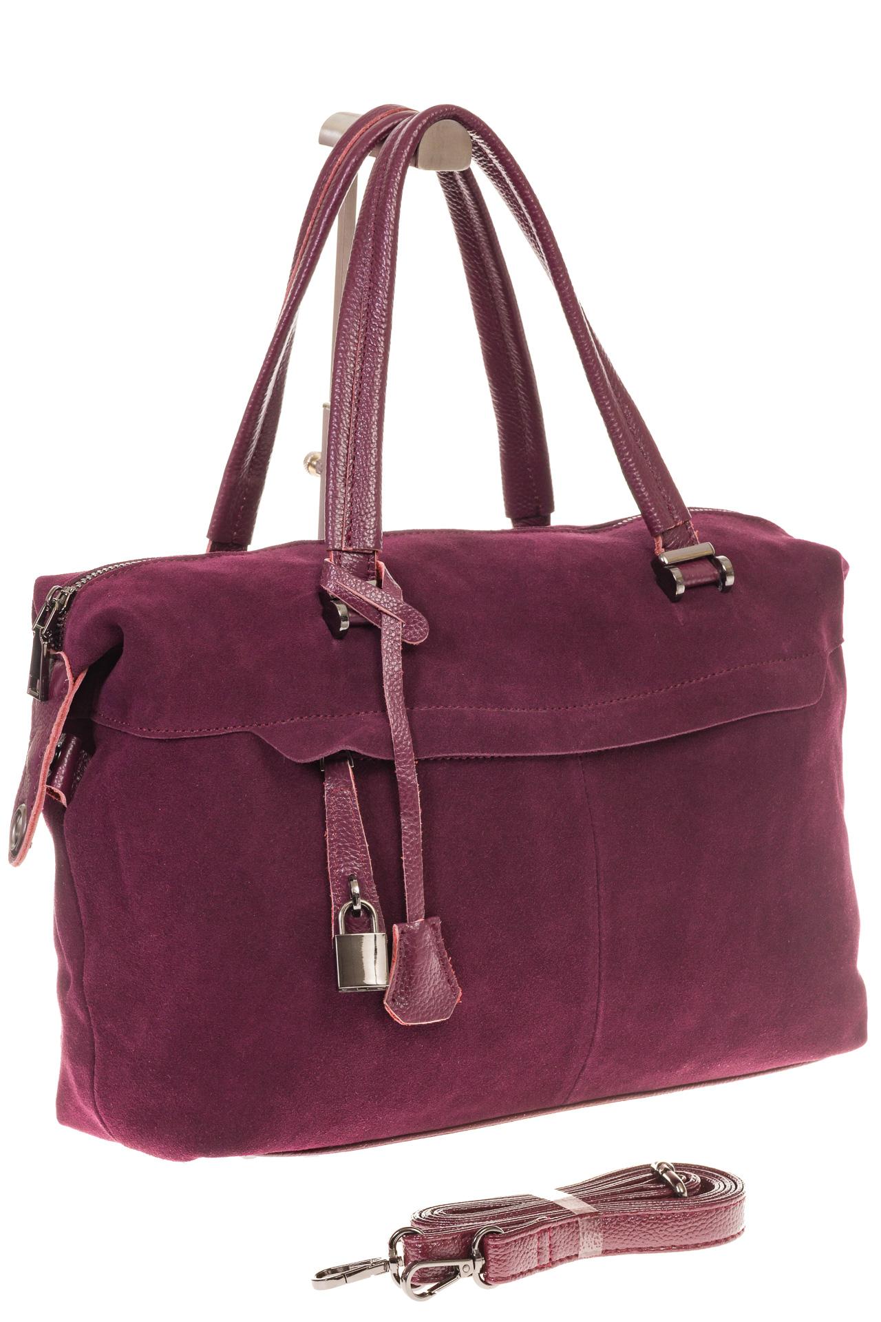 На фото 1 - Женская сумка замшевый тоут бордового цвета