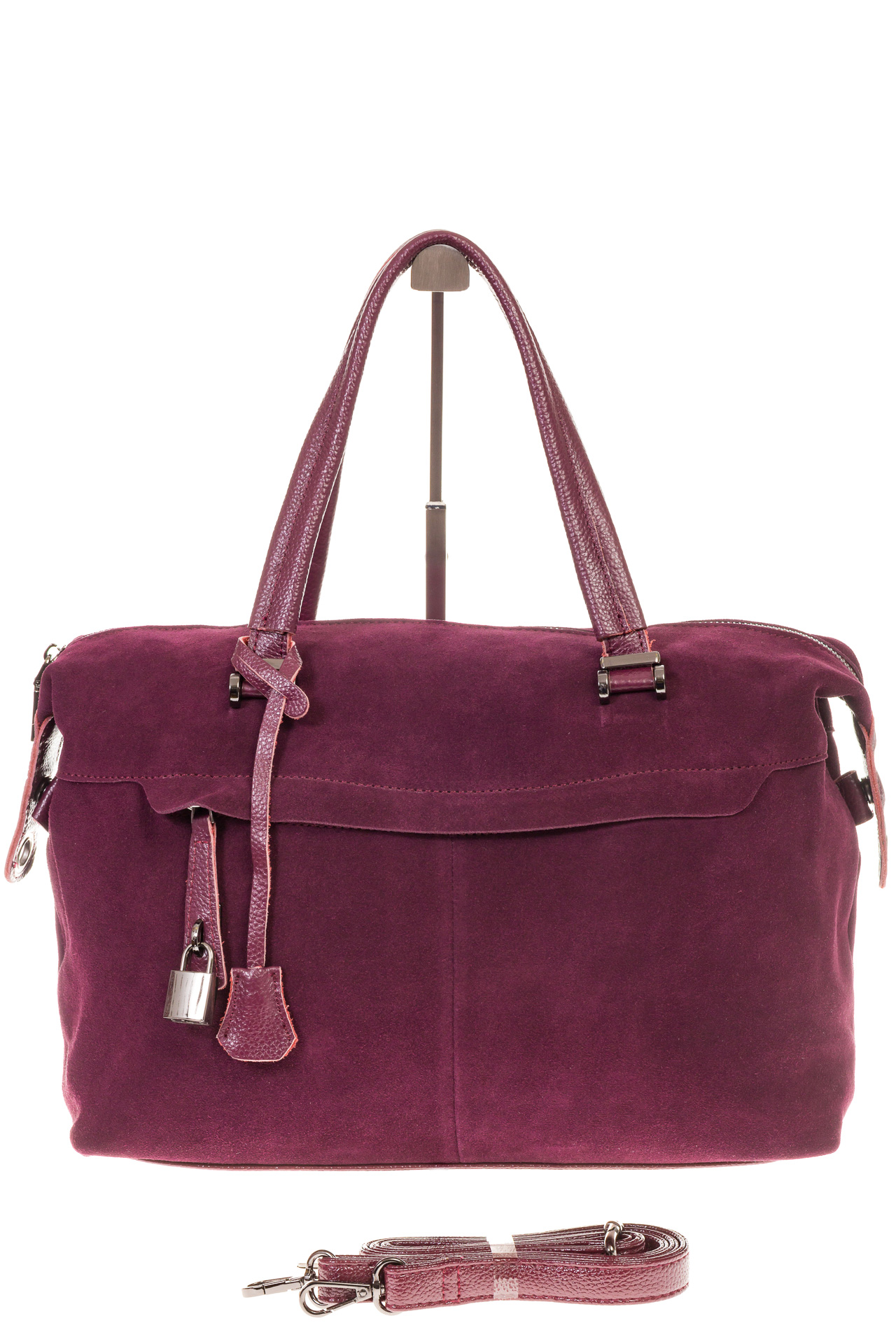 На фото 2 - Женская сумка замшевый тоут бордового цвета