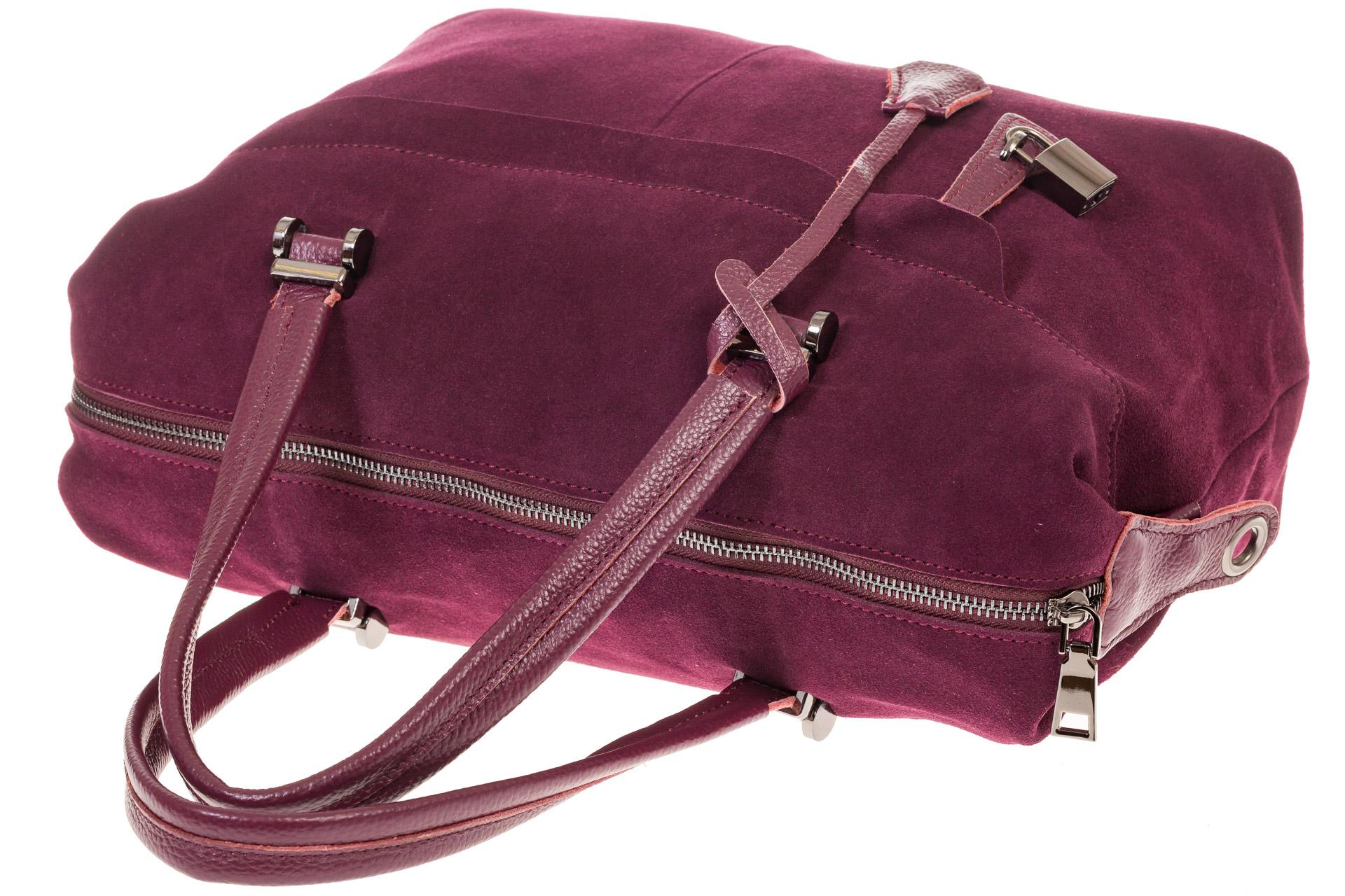 На фото 4 - Женская сумка замшевый тоут бордового цвета