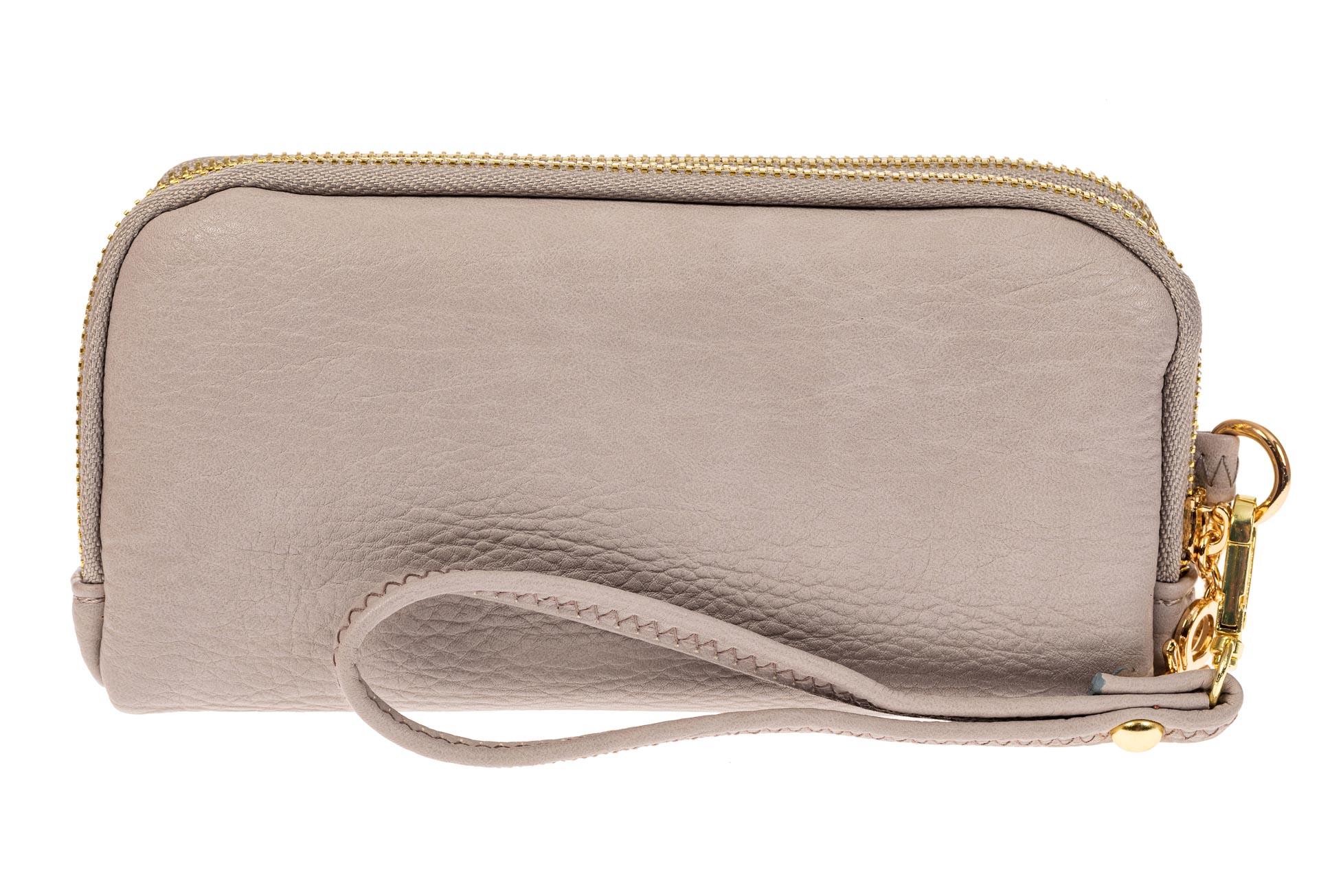 На фото 1 - Женский кошелек-клатч из искусственной кожи, цвет серый