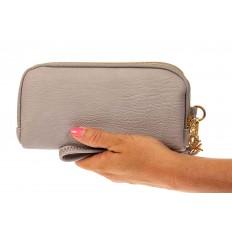 На фото 3 - Женский кошелек-клатч из искусственной кожи, цвет серый