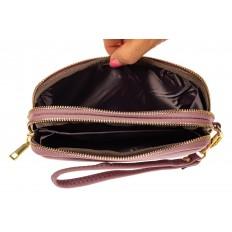 На фото 2 - Женский кошелек-клатч из искусственной кожи, цвет розовый