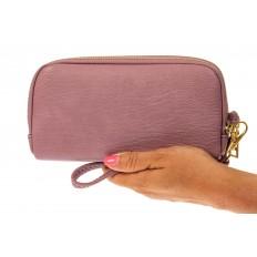 На фото 3 - Женский кошелек-клатч из искусственной кожи, цвет розовый