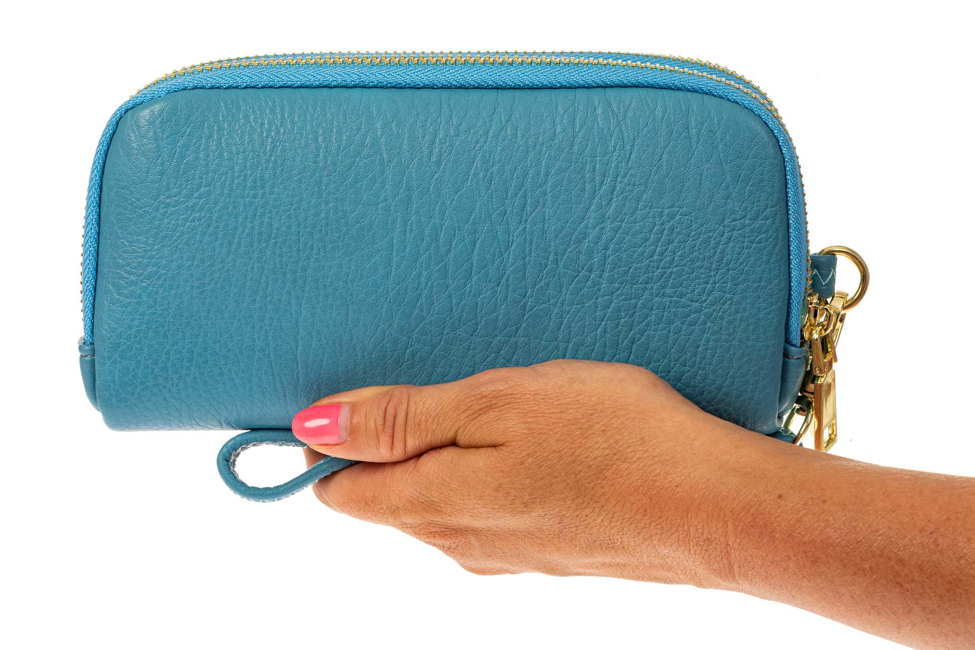 На фото 3 - Женский кошелек-клатч из искусственной кожи, цвет голубой