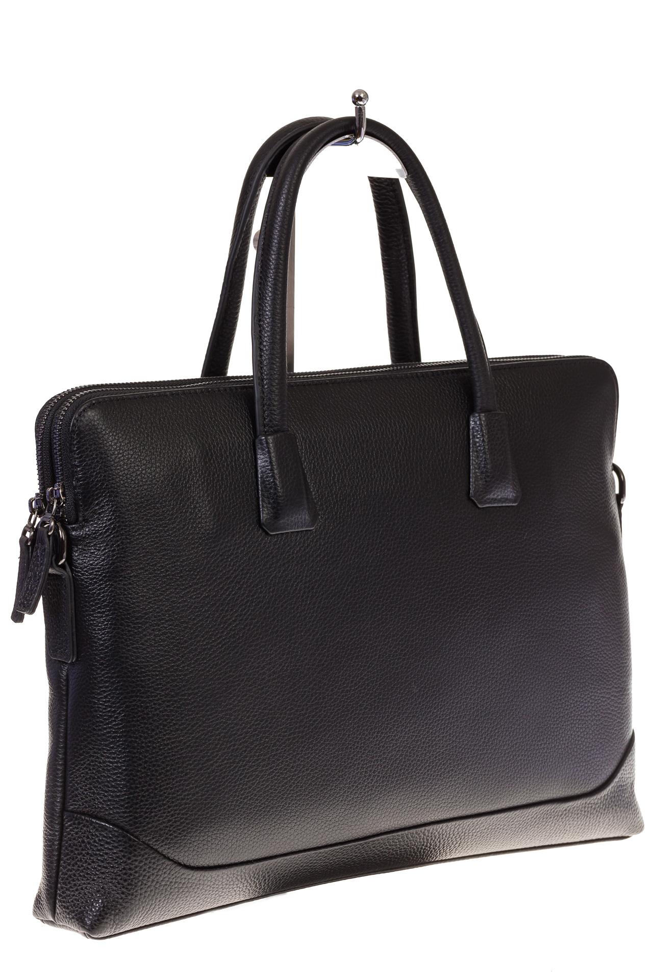На фото черная мужская сумка-папка из текстурной натуральной кожи, оптом