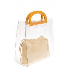 На фото 1 - Сумка-пакет из прозрачного винила, цвет белый
