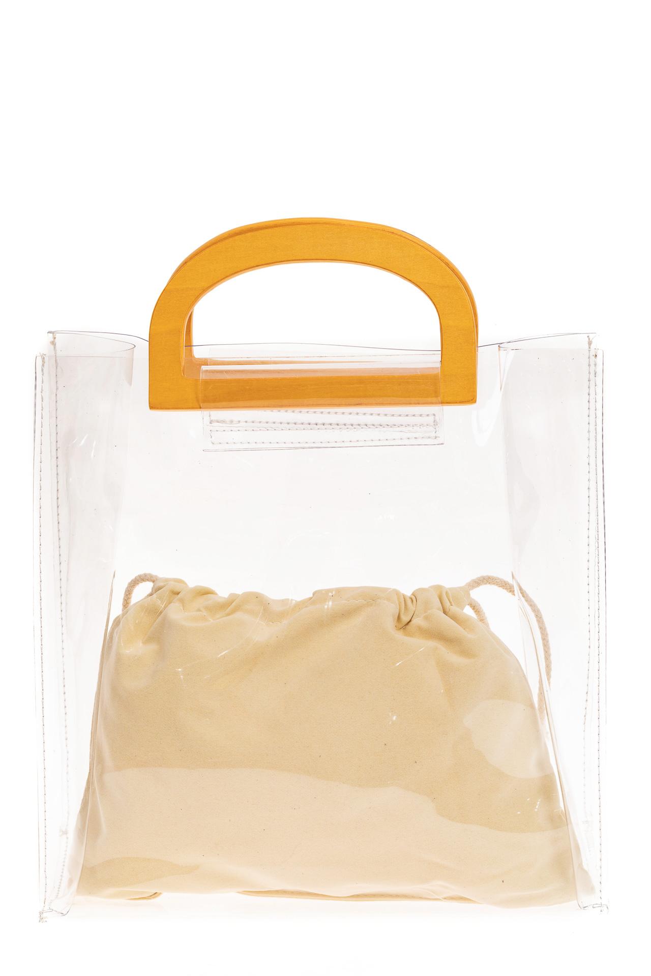 На фото 2 - Сумка-пакет из прозрачного винила, цвет белый