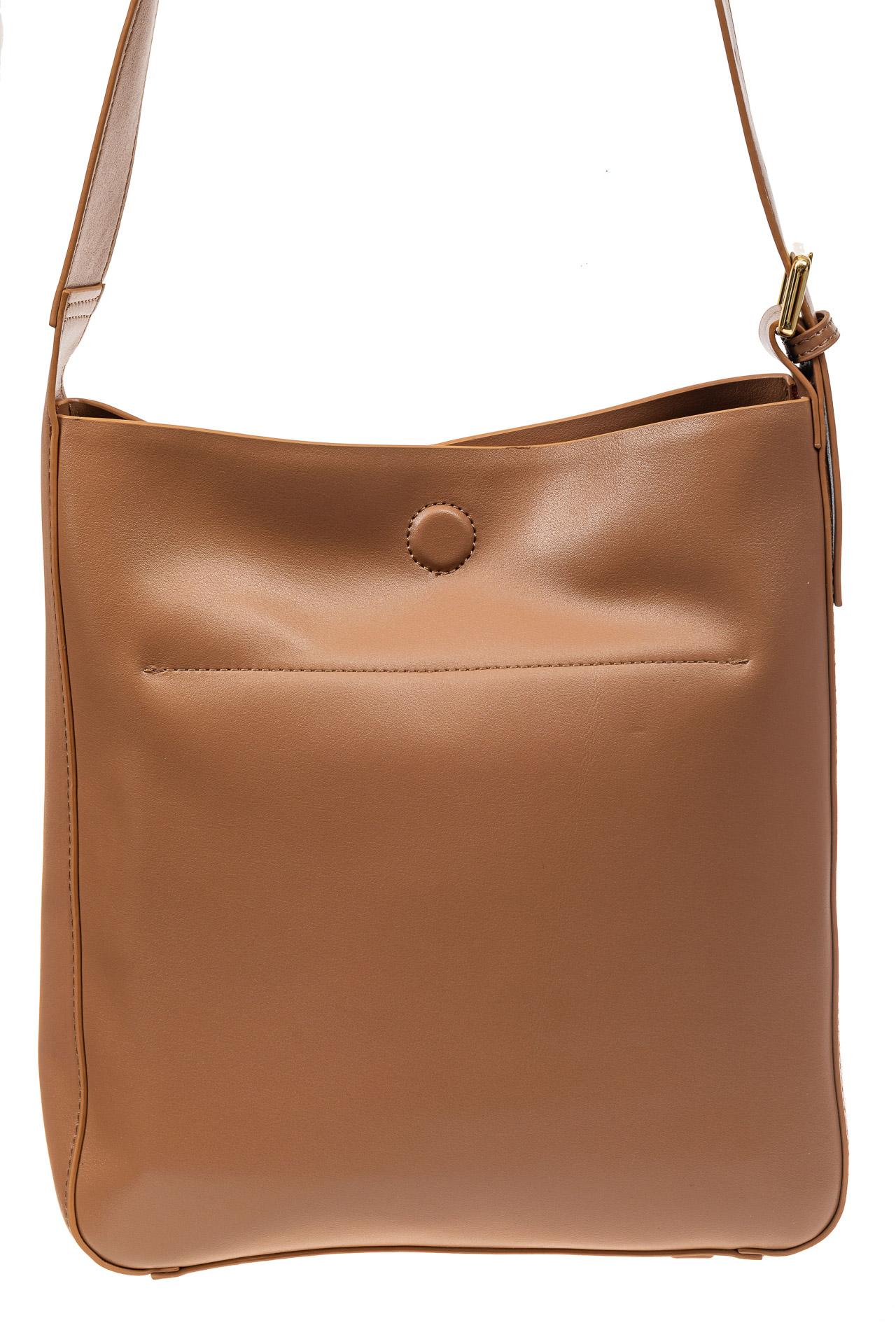 На фото 3 - Женская сумка-пакет из натуральной кожи, цвет бежевый