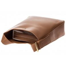 На фото 4 - Женская сумка-пакет из натуральной кожи, цвет бежевый