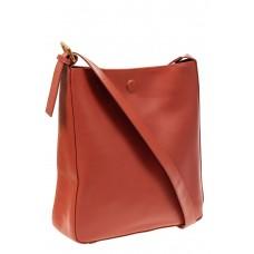 На фото 1 - Женская сумка-пакет из натуральной кожи, цвет коралл