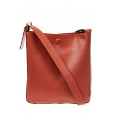На фото 2 - Женская сумка-пакет из натуральной кожи, цвет коралл