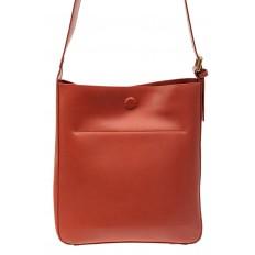 На фото 3 - Женская сумка-пакет из натуральной кожи, цвет коралл