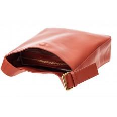 На фото 4 - Женская сумка-пакет из натуральной кожи, цвет коралл