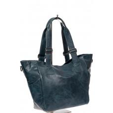 На фото 1 - Женская сумка-трапеция из искусственной кожи, цвет синий