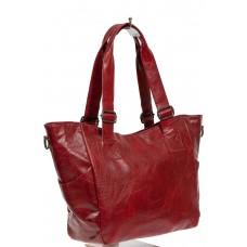 На фото 1 - Женская сумка-трапеция из искусственной кожи, цвет красный