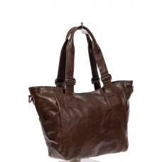 На фото 1 - Женская сумка-трапеция из искусственной кожи, цвет шоколад
