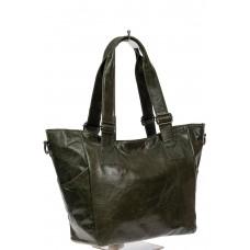 На фото 1 - Женская сумка-трапеция из искусственной кожи, цвет хаки