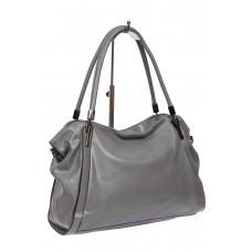 На фото 1 - Серая классическая сумка из фактурной экокожи