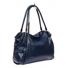 На фото 1 - Тёмно-синяя классическая сумка из фактурной экокожи