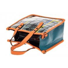 На фото 3 - Летний тоут из искусственной кожи, цвет сине-зеленый с оранжевой отделкой