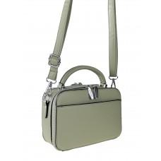 На фото 1 - Женская сумочка из гладкой экокожи с жёстким каркасом, цвет светло-зелёный