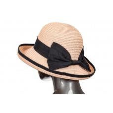 На фото 1 - Соломенная летняя шляпка розового цвета