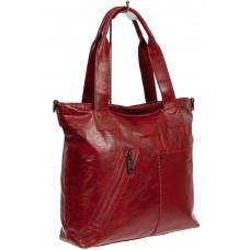На фото 1 - Шоппер женский из фактурной искусственной кожи, цвет бордовый
