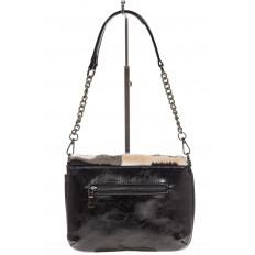 На фото 3 - Женская сумка flap из натурального меха, серый мультицвет