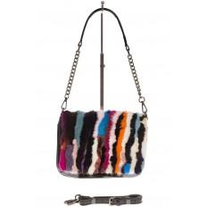 На фото 2 - Женская сумка flap из натурального меха, вертикальный мультицвет