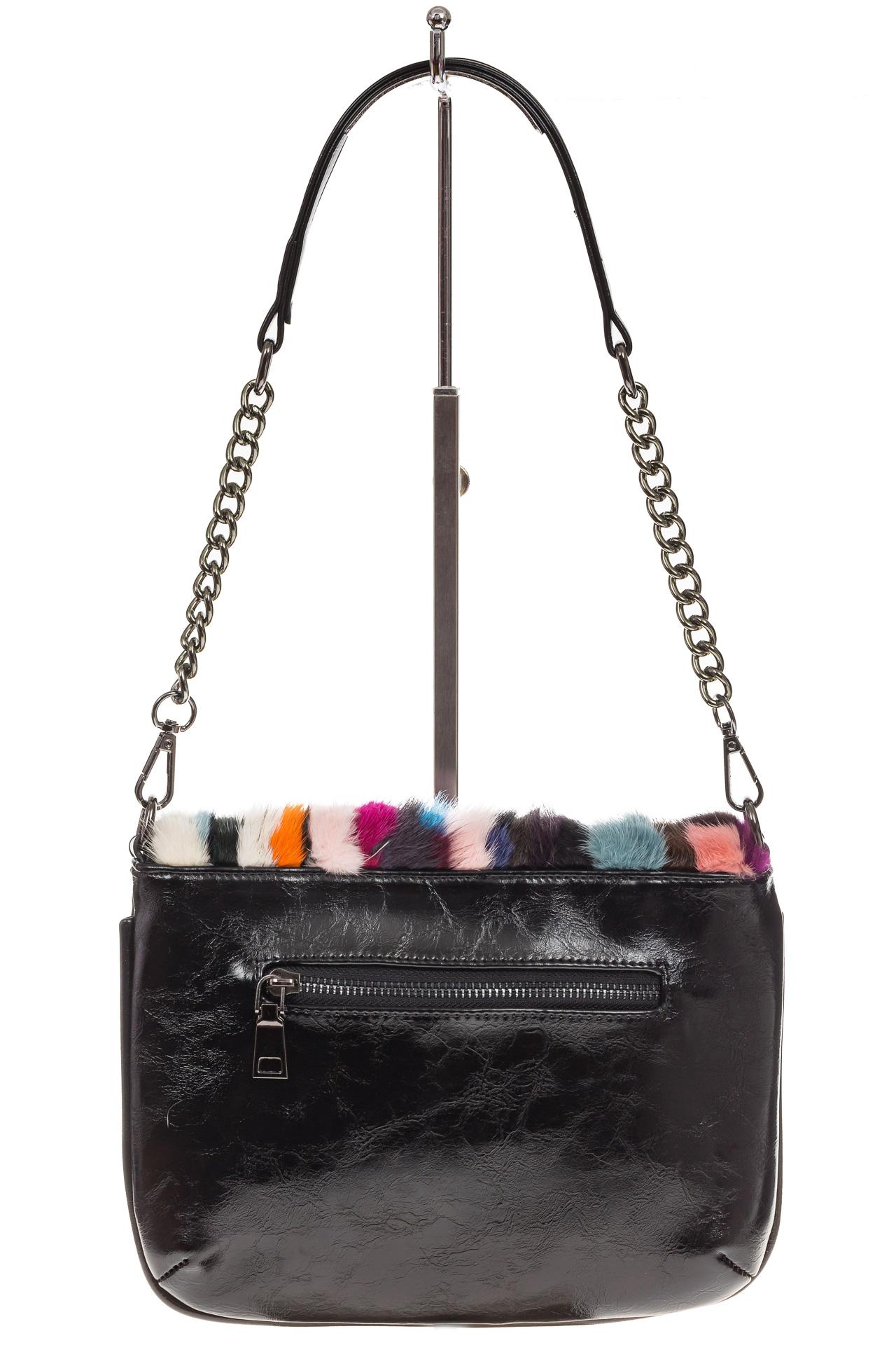 На фото 3 - Женская сумка flap из натурального меха, вертикальный мультицвет