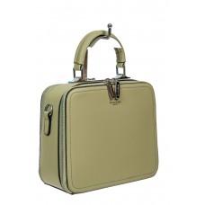 На фото 1 - Женская сумка с жёстким каркасом из экокожи, цвет светло-зелёный