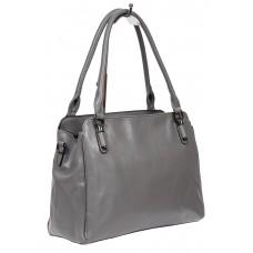 На фото 1 - Классическая сумка тоут из фактурной искусственной кожи, цвет серый