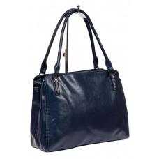 На фото 1 - Классическая сумка тоут из фактурной искусственной кожи, цвет тёмно-синий