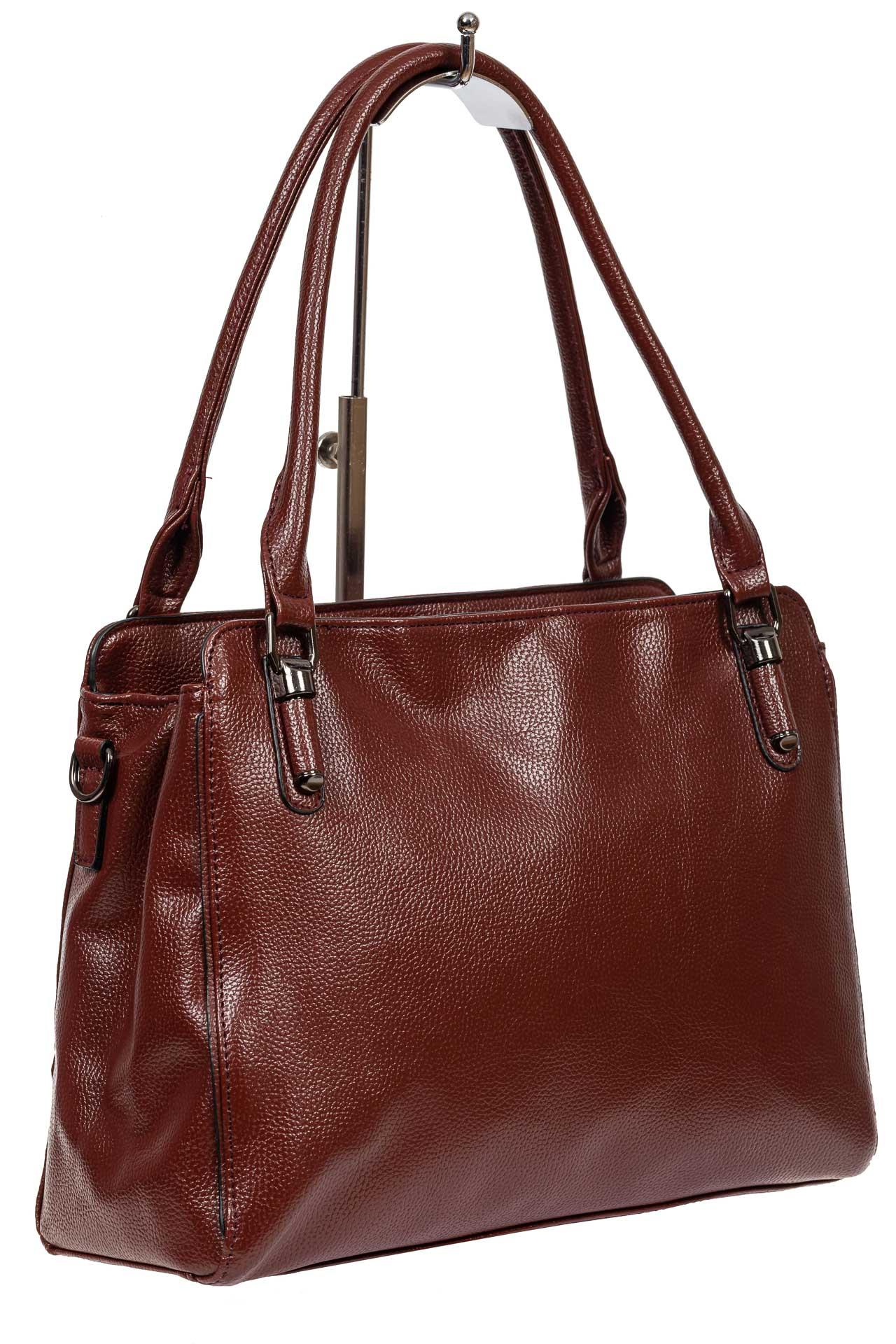 На фото 1 - Классическая сумка тоут из фактурной искусственной кожи, цвет бордовый