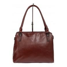 На фото 2 - Классическая сумка тоут из фактурной искусственной кожи, цвет бордовый