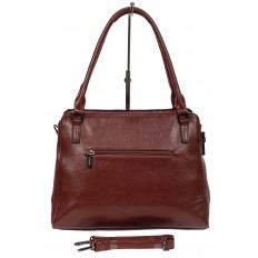 На фото 3 - Классическая сумка тоут из фактурной искусственной кожи, цвет бордовый