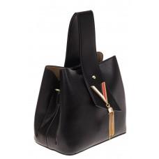 На фото 1 - Экстравагантная сумка из искусственной кожи, цвет черный