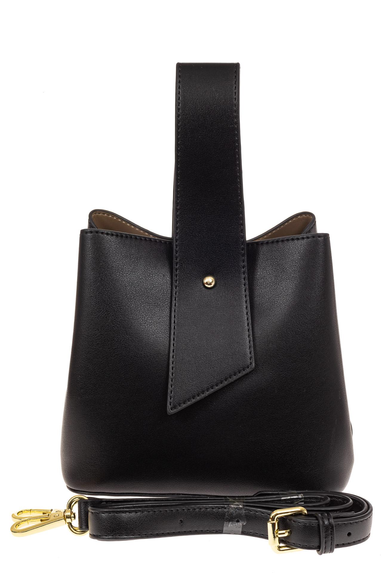 На фото 2 - Экстравагантная сумка из искусственной кожи, цвет черный