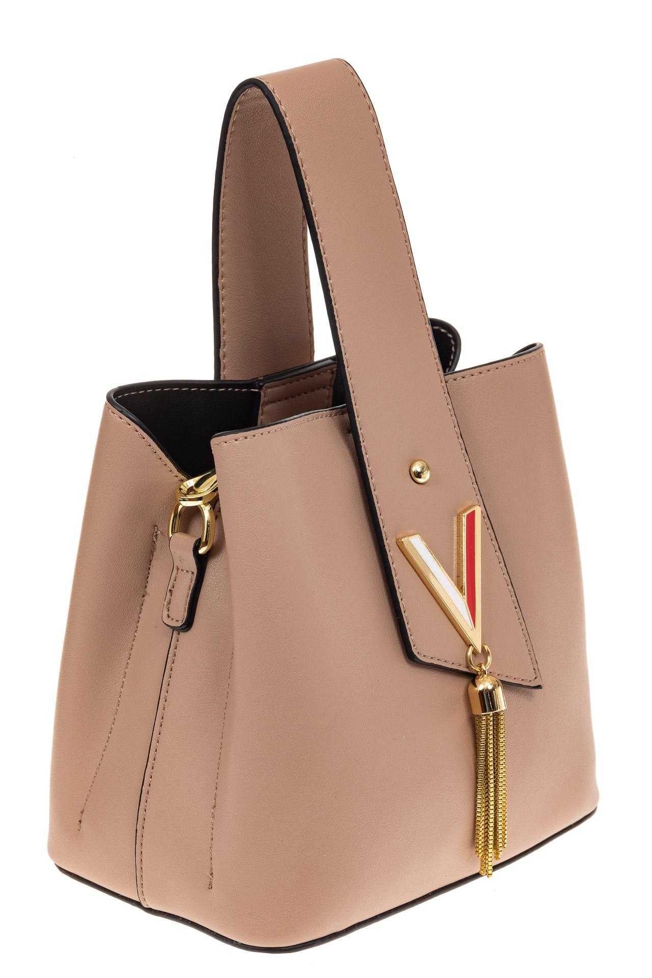 На фото 1 - Экстравагантная сумка из искусственной кожи, цвет бежевый