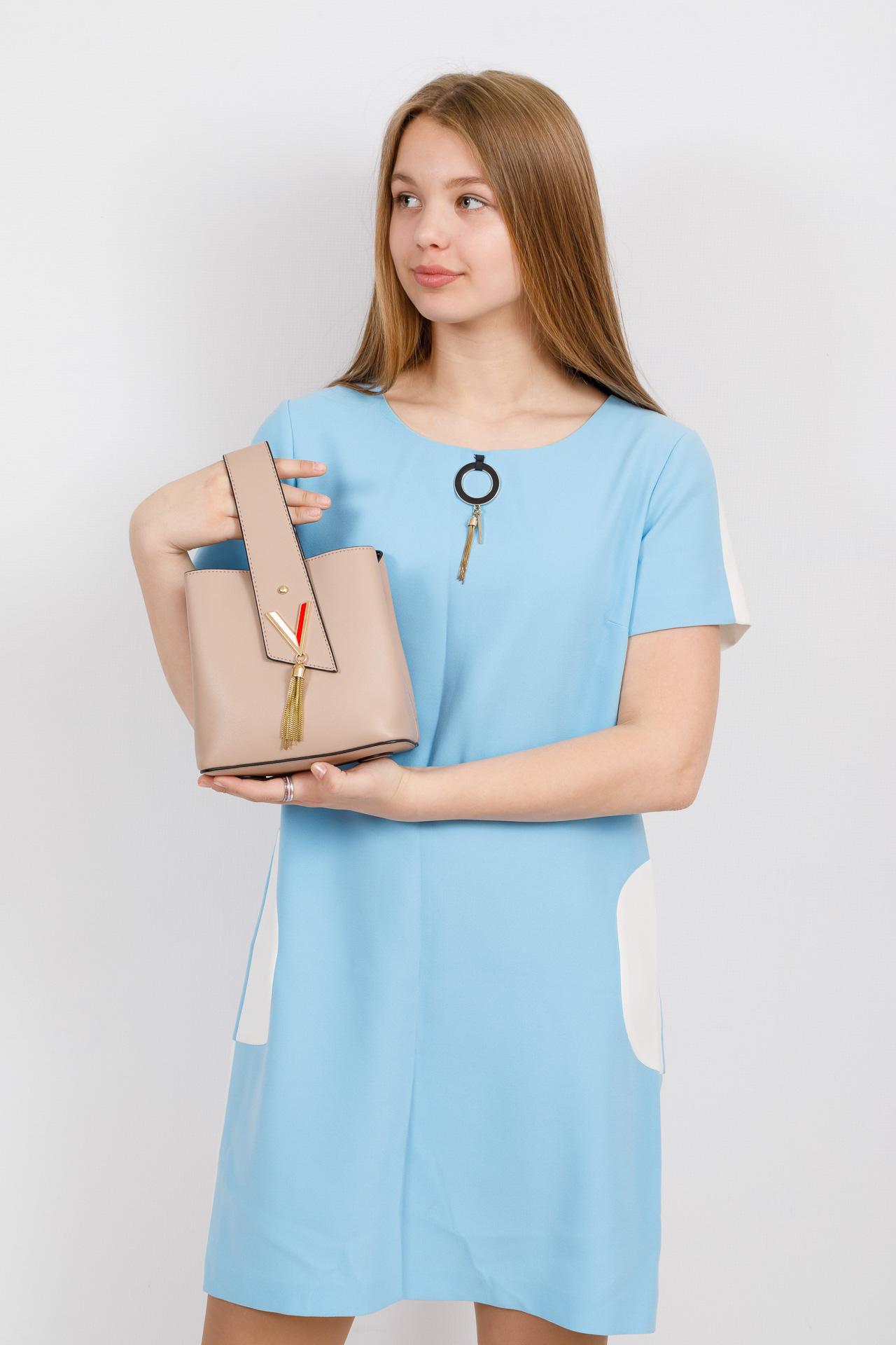 На фото 4 - Экстравагантная сумка из искусственной кожи, цвет бежевый