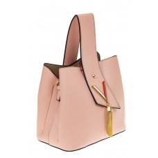 На фото 1 - Экстравагантная сумка из искусственной кожи, цвет розовый