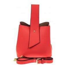 На фото 2 - Экстравагантная сумка из искусственной кожи, цвет красный