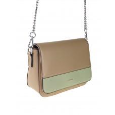 На фото 1 - Женская сумочка из гладкой искусственной кожи, цвет бежевый с бледно-зелёным