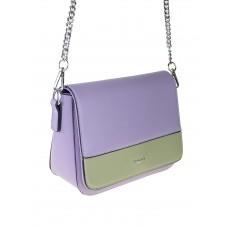 На фото 1 - Женская сумочка из гладкой искусственной кожи, цвет ярко-сиреневый с хаки
