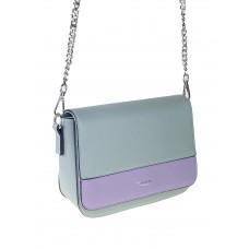 На фото 1 - Женская сумочка из гладкой искусственной кожи, цвет серая бирюза с сиреневым